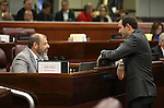 Nevada Assembly Republicans Paul Anderson, left, and Derek Armstrong work on the Assembly floor at the Legislative Building in Carson City, Nev., on Sunday, May 31, 2015.  <br /> Photo by Cathleen Allison
