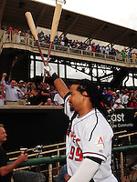 Jun. 23, 2009; Albuquerque, NM, USA; Albuquerque Isotopes outfielder Manny Ramirez acknowledges the fans prior to the game against the Nashville Sounds at Isotopes Stadium. Ramirez is playing in the minor leagues while suspended for violating major league baseballs drug policy. Mandatory Credit: Mark J. Rebilas-