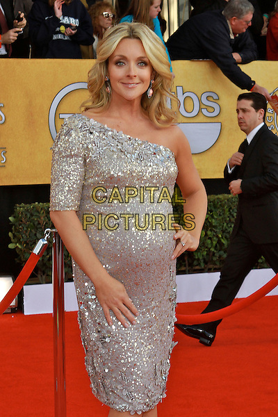 JANE KRAKOWSKI .at the 17th Screen Actors Guild Awards held at The Shrine Auditorium in Los Angeles, California, USA,.January 30th 2011..SAG Sags arrivals half length silver sequins beads beaded floral flowers sequined one shoulder pregnant hand on hip maternity gold trim .CAP/ADM/KB.©Kevan Brooks/AdMedia/Capital Pictures.