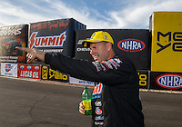 Feb 28, 2016; Chandler, AZ, USA; NHRA pro stock driver Jason Line celebrates after winning the Carquest Nationals at Wild Horse Pass Motorsports Park. Mandatory Credit: Mark J. Rebilas-