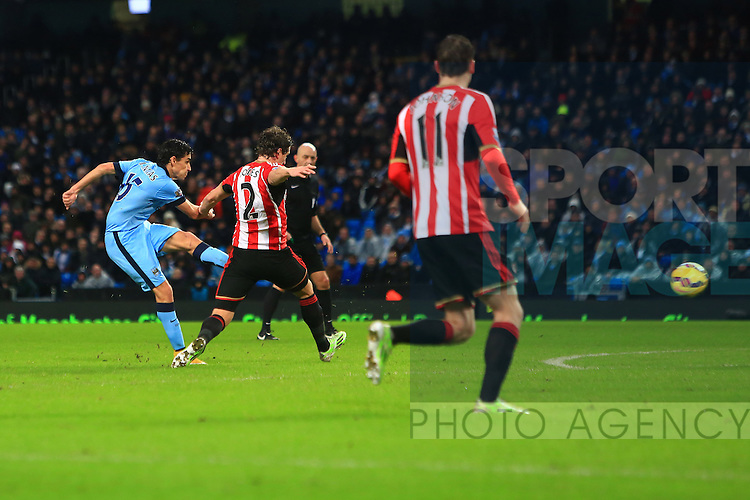 Jesus Navas of Manchester City strikes at goal - Manchester City vs. Sunderland - Barclay's Premier League - Etihad Stadium - Manchester - 28/12/2014 Pic Philip Oldham/Sportimage