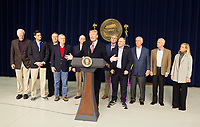 United States President Donald J. Trump makes remarks to the media at Camp David, the presidential retreat near Thurmont, Maryland after holding meetings with staff, members of his Cabinet and Republican members of Congress to discuss the Republican legislative agenda for 2018 on January 6, 2018.  Pictured from left to right: US Senate Majority Whip John Cornyn (Republican of Texas); Speaker of the US House of Representatives Paul Ryan (Republican of Wisconsin); Mike Pompeo<br /> Director, Central Intelligence Agency (CIA); US Senate Majority Leader Mitch McConnell (Republican of Kentucky); US Vice President Mike Pence; President Trump; US House Majority Leader Kevin McCarthy (Republican of California); US House Majority Whip Steve Scalise (Republican of Louisiana); US Secretary of State Rex Tillerson; US Secretary of Defense James Mattis; and US Secretary of Homeland Security Kirstjen Nielsen.<br /> CAP/MPI/RS<br /> &copy;RS/MPI/Capital Pictures