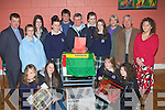 CHARITY: Students from Mercy Mounthawk and Presentation Secondry School who collected monies for Sr Consilio project and on Wednesday night a draw was made at the St John's Parish Centre. Front l-r: Katie McGovern, Stacey Stack, Caitriona Keane and Eimear O'Connor. Back l-r: Fr Kieran O'Brien, Sr Celine O'Callaghan, Ashley King, Amy Jordan, John Donovan, Deirdre Barry, Aisling Moriarty, Bernie McCaffrey, Bill Looney and Ann Daly..