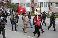 """Ca. 1000 Nazis aus ganz Deutschland marschierten am Sonntag den 1. Mai 2016 im Saeschsichen Plauen auf. Die Naziorganisation 3.Weg hatte den Marsch angemeldet. Etliche Nazis waren dabei vermummt und zeigten auch den Hitlergruss, die Polizei schritt jedoch nicht ein.<br /> Nach der Haelfte der Marschroute beendeten die Nazis ihre Demonstration, da die Polizei die Marschroute verkuerzen wollte. Sie forderten die Polizei auf den Weg freizugeben. Danach griffen Aufmarschteilnehmer die Polizei an, die daraufhin Wasserwerfer, Pfefferspray, Traenengas und Schlagstoecke einsetzte. Mehrere Gruppen Nazis zogen danach durch Plauen und jagten Menschen.<br /> Nach einer Stunde bekamen die Nazis einen erneuten Aufmarsch von der Polizei genehmigt und zogen zurueck zum Bahnhof.<br /> Im Bild mit Hamburg-Fahne: Thomas """"Steiner"""" Wulff, Nazianfuehrer aus Hamburg. Seinen Spitznamen hat er sich vom SS Obergruppenfuehrer Felix Steiner genommen.<br /> Links mit heller Umhaengetasche: Klaus Armstroff, Gruender und Vorsitzender der Partei """"3. Weg"""".<br /> 1.5.2016, Plauen<br /> Copyright: Christian-Ditsch.de<br /> [Inhaltsveraendernde Manipulation des Fotos nur nach ausdruecklicher Genehmigung des Fotografen. Vereinbarungen ueber Abtretung von Persoenlichkeitsrechten/Model Release der abgebildeten Person/Personen liegen nicht vor. NO MODEL RELEASE! Nur fuer Redaktionelle Zwecke. Don't publish without copyright Christian-Ditsch.de, Veroeffentlichung nur mit Fotografennennung, sowie gegen Honorar, MwSt. und Beleg. Konto: I N G - D i B a, IBAN DE58500105175400192269, BIC INGDDEFFXXX, Kontakt: post@christian-ditsch.de<br /> Bei der Bearbeitung der Dateiinformationen darf die Urheberkennzeichnung in den EXIF- und  IPTC-Daten nicht entfernt werden, diese sind in digitalen Medien nach §95c UrhG rechtlich geschuetzt. Der Urhebervermerk wird gemaess §13 UrhG verlangt.]"""