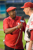 Philadelphia Phillies broadcaster Gary Matthews interviews pitcher Roy Halladay after the Major League Baseball game against the Houston Astros at Minute Maid Park in Houston, Texas on September 14, 2011. Philadelphia defeated Houston 1-0 to clinch a playoff berth.  (Andrew Woolley/Four Seam Images)