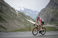 Tim Wellens (BEL/Lotto-Soudal) up the Col de l'Iseran (HC/2751m/13km@7.3%) <br /> > where the race was eventually stopped (at the top) because of landslides further up the road (after a severe hail storm in Tignes)<br /> <br /> Stage 19: Saint-Jean-de-Maurienne to Tignes (126km)<br /> 106th Tour de France 2019 (2.UWT)<br /> <br /> ©kramon