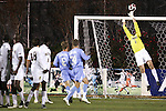 16 November 2007: Wake Forest goalkeeper Brian Edwards (1) tips a North Carolina free kick over the crossbar. Wake Forest University played the University of North Carolinaat SAS Stadium in Cary, NC in an Atlantic Coast Conference Men's Soccer tournament semifinal.