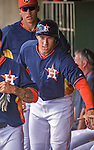 12 March 2014: Houston Astros outfielder George Springer returns to the dugout after scoring during a Spring Training game against the Washington Nationals at Osceola County Stadium in Kissimmee, Florida. The Astros rallied in the bottom of the 9th to edge out the Nationals 10-9 in Grapefruit League play. Mandatory Credit: Ed Wolfstein Photo *** RAW (NEF) Image File Available ***