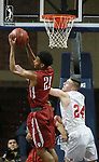 SIOUX FALLS, SD - MARCH 9:  Joe Jackson #21 of IU Southeast rebounds above Kyle Mangas #24 of Indiana Wesleyan at the 2018 NAIA DII Men's Basketball Championship at the Sanford Pentagon in Sioux Falls. (Photo by Dick Carlson/Inertia)