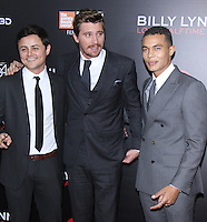 NEW YORK, NY-October 14:Arturo Castro, Garrett Hedlund, Ismael Cruz Cordova at NYFF54 Special Wortldf Premiere Presentation Billy Lynn's Halftime Walk at AMC Lincoln Square in New York.October 14 , 2016. Credit:RW/MediaPunch