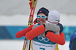 Simen Hegstad Krueger (NOR) celebrates winning with his coach. Mens 15km Skiathlon. Cross country skiing. Pyeongchang2018 winter Olympics. Alpensia cross country centre. Alpensia. Gangneung. Republic of Korea. 11/02/2018. ~ MANDATORY CREDIT Garry Bowden/SIPPA - NO UNAUTHORISED USE - +44 7837 394578
