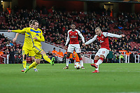 Jack Wilshere of Arsenal (10) scores his team's third goal of the game to make the score 3-0 during the UEFA Europa League match between Arsenal and FC BATE Borisov  at the Emirates Stadium, London, England on 7 December 2017. Photo by David Horn.