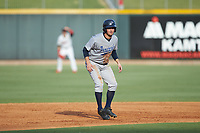 Joe Cronin (15) of the Pensacola Blue Wahoos takes his lead off of second base against the Birmingham Barons at Regions Field on July 7, 2019 in Birmingham, Alabama. The Barons defeated the Blue Wahoos 6-5 in 10 innings. (Brian Westerholt/Four Seam Images)