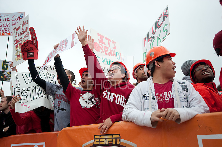 STANFORD, CA - NOVEMBER 12: Fans show their excitement during filing of ESPN's Gameday Live at the Oval on the Stanford Campus. Stanford will compete against the University of Oregon at Stanford Stadium later that afternoon.