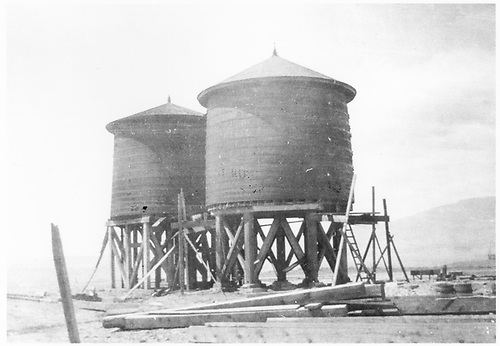 Caption: &quot;City of Delta water tanks located at top of 4th St. hill 1905.&quot;<br /> D&amp;RG  Delta, CO  ca 1905