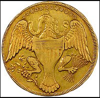 BNPS.co.uk (01202 558833)Pic: HeritageAuctions/BNPS<br /> <br /> The stars on the back represent the 13 states in the union. <br /> <br /> $10 coin sells for &pound;1.37 million...!<br /> <br /> A gold coin carrying the face of the first American president George Washington has sold at auction for a staggering &pound;1.37million ($1,740,000).<br /> <br /> The 1792 coin with Washington's profile on the front and an eagle on the back was specially made for him by a firm who were trying to secure the contract to make the first US currency.<br /> <br /> In a rare example of American Presidential modesty in stark contrast to more modern times, Republican Washington declined to have his head on the coinage in case it made him look to much like European royalty.<br /> <br /> A year later, the first coins were introduced in the United States with images of lady Liberty on the front and a bald eagle on the back.