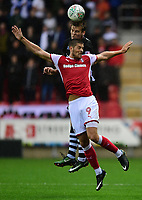 Lincoln City's Sean Raggett vies for possession with Rotherham United's Jamie Proctor<br /> <br /> Photographer Chris Vaughan/CameraSport<br /> <br /> The Carabao Cup First Round - Rotherham United v Lincoln City - Tuesday 8th August 2017 - New York Stadium - Rotherham<br />  <br /> World Copyright &copy; 2017 CameraSport. All rights reserved. 43 Linden Ave. Countesthorpe. Leicester. England. LE8 5PG - Tel: +44 (0) 116 277 4147 - admin@camerasport.com - www.camerasport.com