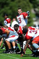 Aug. 1, 2009; Flagstaff, AZ, USA; Arizona Cardinals quarterback (13) Kurt Warner calls a play during training camp on the campus of Northern Arizona University. Mandatory Credit: Mark J. Rebilas-