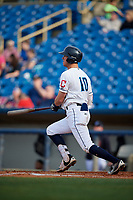 Lake County Captains third baseman Nolan Jones (10) follows through on a swing during the first game of a doubleheader against the South Bend Cubs on May 16, 2018 at Classic Park in Eastlake, Ohio.  South Bend defeated Lake County 6-4 in twelve innings.  (Mike Janes/Four Seam Images)