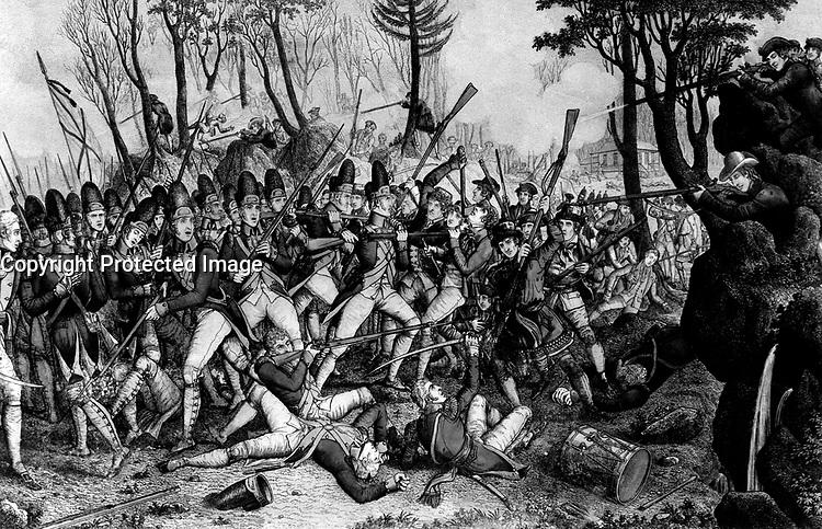 Battle of Lexington, April 19, 1775.  Copy of print by John Baker, 1832. (George Washington Bicentennial Commission)<br />NARA FILE #:  148-GW-475<br />WAR &amp; CONFLICT #:  10