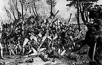 Battle of Lexington, April 19, 1775.  Copy of print by John Baker, 1832. (George Washington Bicentennial Commission)<br />NARA FILE #:  148-GW-475<br />WAR & CONFLICT #:  10