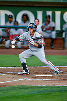 T.J. Friedl (9) of the Billings Mustangs squares to bunt against the Ogden Raptors in Pioneer League action at Lindquist Field on August 12, 2016 in Ogden, Utah. Billings defeated Ogden 7-6. (Stephen Smith/Four Seam Images)