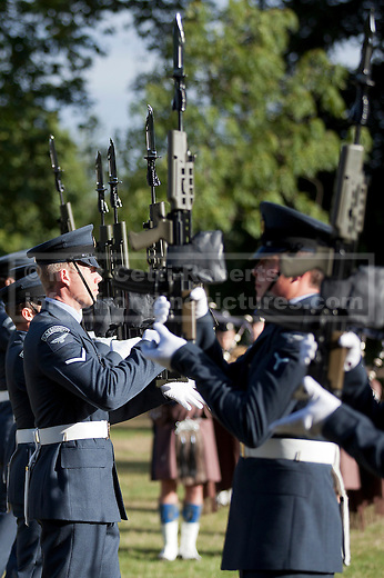 12/09/2012. LONDON, UK. Airmen of the Royal Air Force's ceremonial unit, the Queen's Colour Squadron carry out drill moves in Hyde Park London today (12/09/12) during a taster of some of the acts taking part in the 2012 British Military Tournament. The theme of this year's tournament, involving all arms of the British military, is the life and times of Her Majesty the Queen and takes place at Earls Court in London on the 8th and 9th of December. Photo credit: Matt Cetti-Roberts
