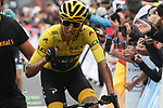 Race leader Yellow Jersey Egan Bernal (COL) Team Ineos crosses the finish line knowing that he has just won the overall general classification at the end of Stage 20 of the 2019 Tour de France running 59.5km from Albertville to Val Thorens, France. 27th July 2019.<br /> Picture: Colin Flockton | Cyclefile<br /> All photos usage must carry mandatory copyright credit (© Cyclefile | Colin Flockton)