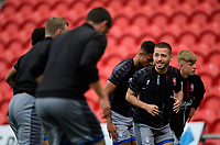 Lincoln City's Jack Payne, right, during the pre-match warm-up<br /> <br /> Photographer Chris Vaughan/CameraSport<br /> <br /> EFL Leasing.com Trophy - Northern Section - Group H - Doncaster Rovers v Lincoln City - Tuesday 3rd September 2019 - Keepmoat Stadium - Doncaster<br />  <br /> World Copyright © 2018 CameraSport. All rights reserved. 43 Linden Ave. Countesthorpe. Leicester. England. LE8 5PG - Tel: +44 (0) 116 277 4147 - admin@camerasport.com - www.camerasport.com