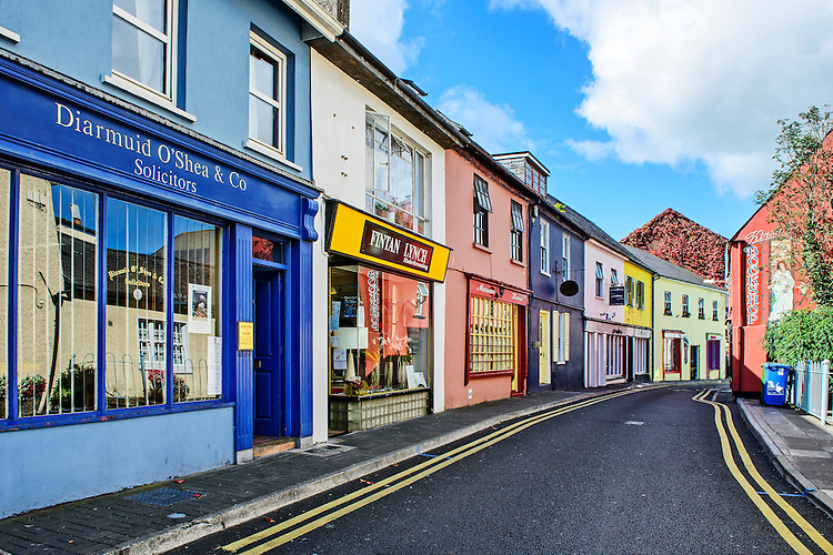 A view of a section of Main Street in the popular Irish tourist town of Kinsale (County Cork).