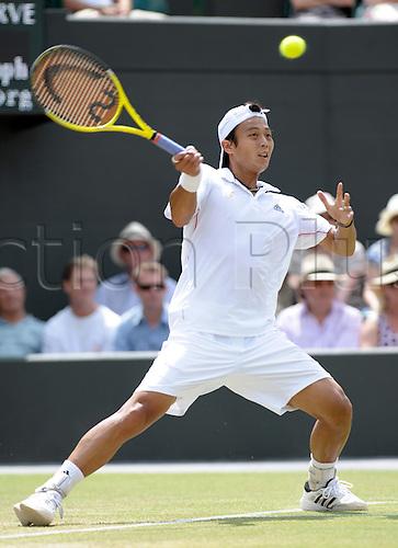 June 30th 2010 Wimbledon international tennis tournament. Held at the All England Lawn Tennis Club, London, England..Lu Yen-Hsun TPE losing to Novak Djokovic SRB in straight sets