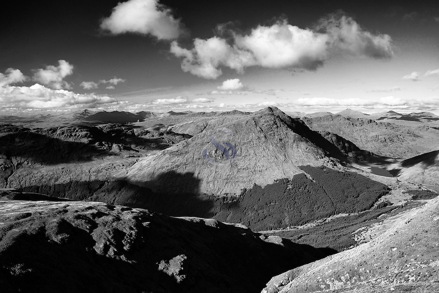 Beinn Luibhean, Beinn Ime, Beinn Narnain and The Cobbler from Ben Donich, the Arrochar Alps, Loch Lomond and the Trossachs National Park, Argyll & Bute