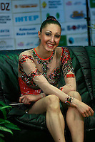 "Elizabeth Paisieva of Bulgaria, portrait taken at ""kiss & cry"" at 2008 World Cup Kiev, ""Deriugina Cup"" in Kiev, Ukraine on March 22, 2008."