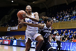 15 November 2016: Duke's Lexie Brown (4) and Longwood's Micaela Ellis (10). The Duke University Blue Devils hosted the Longwood University Lancers at Cameron Indoor Stadium in Durham, North Carolina in a 2016-17 NCAA Division I Women's Basketball game. Duke won the game 105-48.