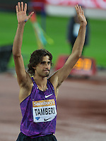Gianmarco TAMBERI of Italy after his 2nd placed finish in the High Jump during the Sainsburys Anniversary Games at the Olympic Park, London, England on 24 July 2015. Photo by Andy Rowland.