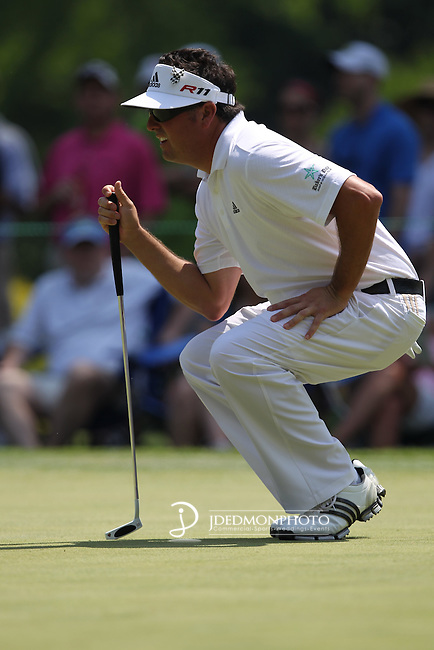 May 8,2011 - Pat Perez lines up for his putt on 6.  Lucas Glover wins the tournament in sudden death over Jonathan Byrd at Quail Hollow Country Club,Charlotte,NC.