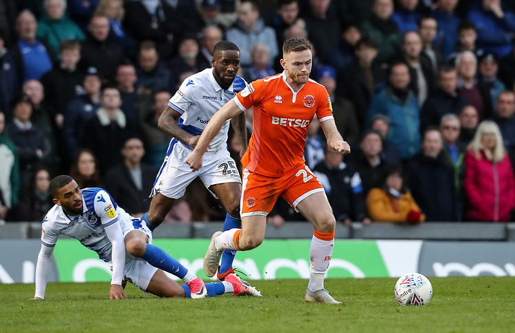 Blackpool's Oliver Turton breaks away from Bristol Rovers' Tareiq Holmes-Dennis and Abu Ogogo<br /> <br /> Photographer Andrew Kearns/CameraSport<br /> <br /> The EFL Sky Bet League Two - Bristol Rovers v Blackpool - Saturday 2nd March 2019 - Memorial Stadium - Bristol<br /> <br /> World Copyright © 2019 CameraSport. All rights reserved. 43 Linden Ave. Countesthorpe. Leicester. England. LE8 5PG - Tel: +44 (0) 116 277 4147 - admin@camerasport.com - www.camerasport.com
