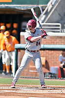 South Carolina Gamecocks left fielder Alex Destino (24) awaits a pitch during a game against the Tennessee Volunteers at Lindsey Nelson Stadium on March 18, 2017 in Knoxville, Tennessee. The Gamecocks defeated Volunteers 6-5. (Tony Farlow/Four Seam Images)