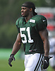 Julian Stanford #51 heads off the field after a day of New York Jets Training Camp at the Atlantic Health Jets Training Center in Florham Park, NJ on Wednesday, Aug. 9, 2017.