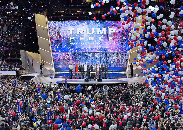 Trump and Pence families on the podium as the balloons drop following his acceptance speech as the GOP candidate for President of the United States at the 2016 Republican National Convention held at the Quicken Loans Arena in Cleveland, Ohio on Thursday, July 21, 2016.<br /> Credit: Ron Sachs / CNP/MediaPunch<br /> (RESTRICTION: NO New York or New Jersey Newspapers or newspapers within a 75 mile radius of New York City)