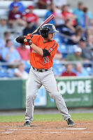 Aberdeen IronBirds shortstop Justin Viele (11) at bat during a game against the Williamsport Crosscutters on August 4, 2014 at Bowman Field in Williamsport, Pennsylvania.  Aberdeen defeated Williamsport 6-3.  (Mike Janes/Four Seam Images)