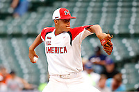 Pitcher Jose Orlando Berrios #7 during the Under Armour All-American Game at Wrigley Field on August 13, 2011 in Chicago, Illinois.  (Mike Janes/Four Seam Images)