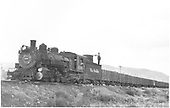 D&amp;RGW #498 with empty coal cars near Crested Butte wye.<br /> D&amp;RGW  Crested Butte, CO  Taken by Richardson, Robert W. - 9/18/1948