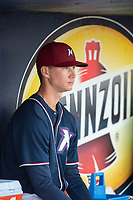 Northwest Arkansas Naturals pitcher Brady Singer (29) sits in the dugout during a Texas League game between the Northwest Arkansas Naturals and the Arkansas Travelers on May 30, 2019 at Arvest Ballpark in Springdale, Arkansas. (Jason Ivester/Four Seam Images)