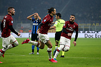 9th February 2020, Milan, Italy; Serie A football, AC Milan versus Inter-Milan; Zlatan Ibrahimvic AC Milan celebrates his goal for 0-2 with Ante Rebic and Theo Hernandez