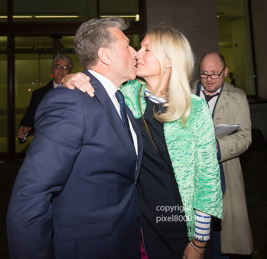 Pic shows: Not Guilty  Neil Fox leaves  Westminster Magistrates Court today 14.12.15<br /> anger and relief<br /> with his wife Vicky <br /> <br /> <br /> <br /> Pic by Gavin Rodgers/Pixel 8000 Ltd