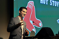 Boston Red Sox General Manager Mike Hazen speaks at the Greenville Drive's annual Hot Stove Event on Tuesday, January 26, 2016, in the ONE Building in Downtown Greenville, South Carolina. (Tom Priddy/Four Seam Images)