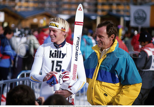 Marcus Wasmeier with JEAN-CLAUDE KILLY (FRA), Val D'Isere, France 8612 Photo:Richard Francis/Action Plus...1986.Winter Sports.Wintersports.Skiing.Portrait.winter sport.winter sports.wintersport.wintersports.alpine.ski.skier.man