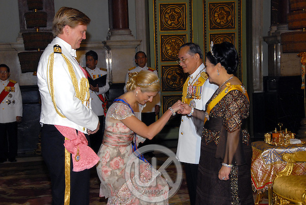 Crown Prince Willem-Alexander & Crown Princess Maxima of Holland attend a Banquet for foreign monarchs & royal guests at the Chakri Maha Prasat Throne Hall, hosted by Thai King Bhumibol Adulyadej, during the celebrations to mark the 60th anniversary of his accession to the throne...Pool Picture supplied by UK Press Ltd