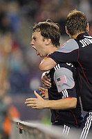 New England Revolution forward Zack Schilawski (15) celebrates game winning goal. The New England Revolution defeated the New York Red Bulls, 3-2, at Gillette Stadium on May 29, 2010.